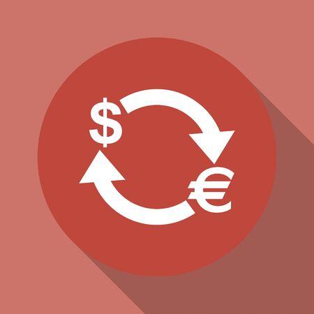 refresh rate: Money convert icon. Euro Dollar. Flat design style