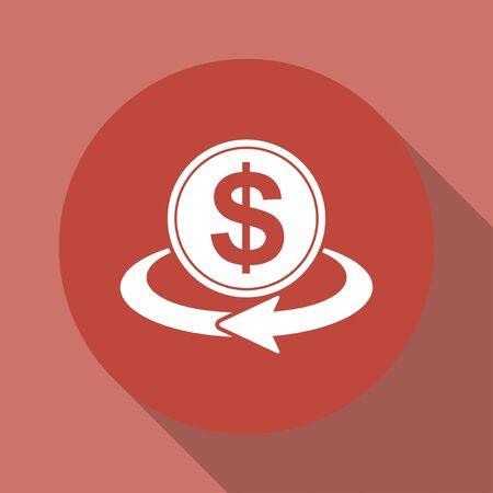 stylized banking: money convert icon. Flat design style eps 10