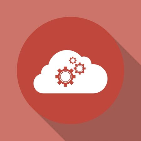 centralized: cloud with gears. Flat design style eps Illustration