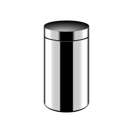 jammed: Metallic trash bin icon. Vector eps 10