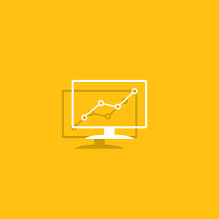 Computer monitors with different graphs, vector eps10 illustration