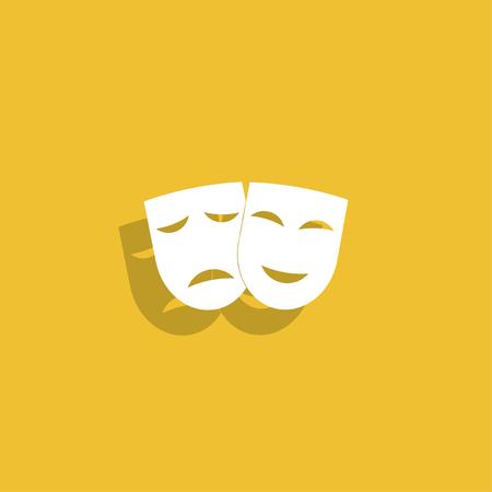행복하고 슬픈 마스크와 극장 아이콘입니다. 벡터 일러스트 레이 션입니다. 일러스트
