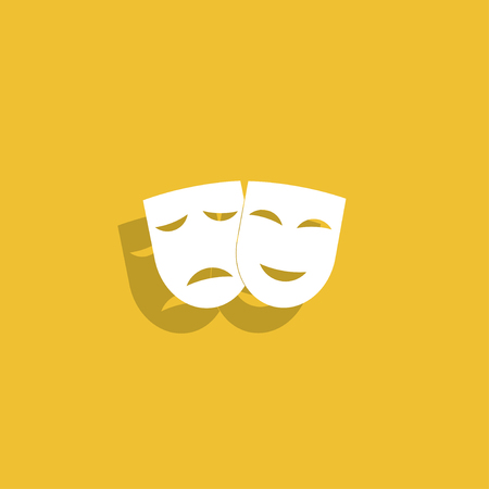 theatre performance: Theater icon with happy and sad masks. VECTOR illustration.