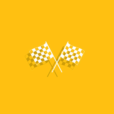 two crossed checkered flags: racing flag icon.
