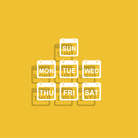 every day: Illustration of Realistic Vector Calendar Icon made in Trendy Flat Style. Set of Every Day of a Week Calendar Icons. Illustration