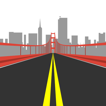 orange county: Golden Gate Bridge. Flat style illustration