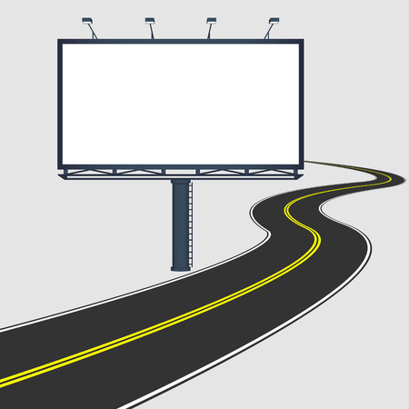 boarded: billboard with road. Flat style illustration. Illustration