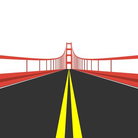 bay area: Golden Gate Bridge. Flat style illustration.