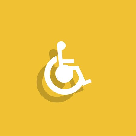 disabled access: cripple Flat Simple Icon , isolated. Flat design style Illustration
