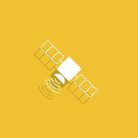 transponder: satellite icon. Flat design style. Vector icon
