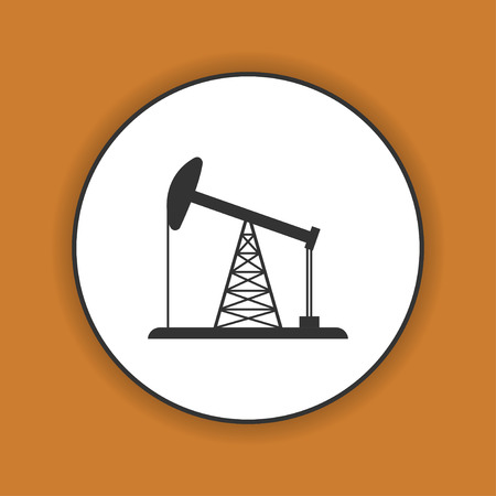 fracking: Oil Rig Icon. Flat design style eps 10