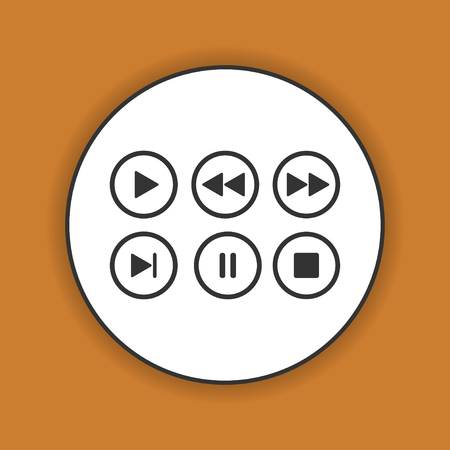 media player: Media player buttons collection vector design elements. Illustration