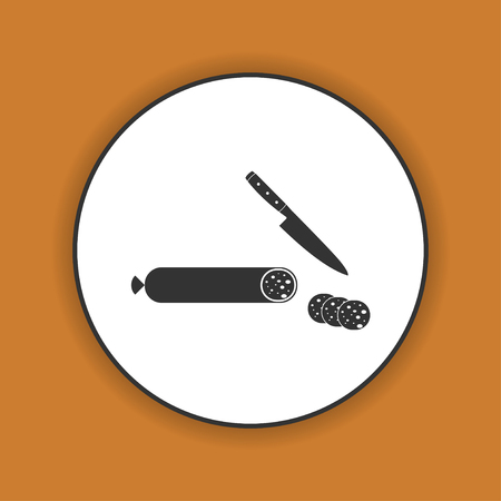 savoury: salami with knife icon. Flat design style eps 10 Illustration