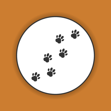 cat silhouette: footprints of dogs, turn  right -vector illustration