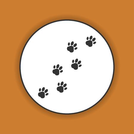 silueta gato: huellas de perros, se convierten ilustración-vector derecha