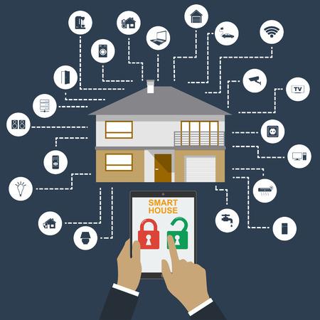 Maison intelligente. Flat style design illustration vectorielle concept de système intelligent de la technologie de la maison avec un contrôle centralisé.