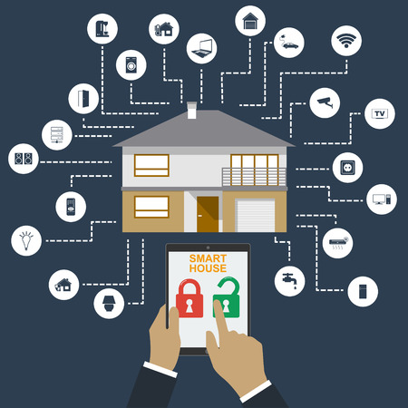 centralized: Smart home. Flat design style vector illustration concept of smart house technology system with centralized control. Illustration