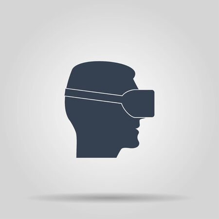 reality: Virtual reality gaming and entertainment headset icon Illustration