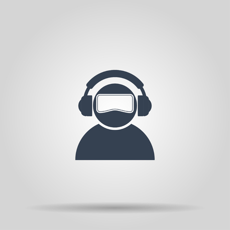 ar: Virtual reality gaming and entertainment headset icon Illustration
