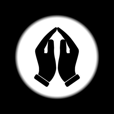 orando manos: Manos de rogaci�n icono, ilustraci�n vectorial. Estilo de dise�o Flat