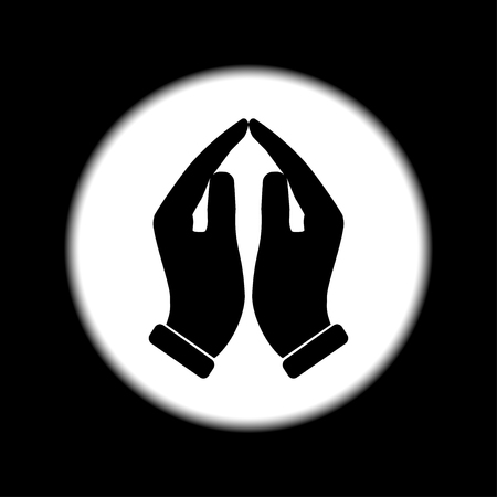 hands together: Praying hands icon, vector illustration. Flat design style Illustration
