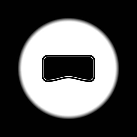 editorial: Virtual reality glass on head isolated vector line icon front view.