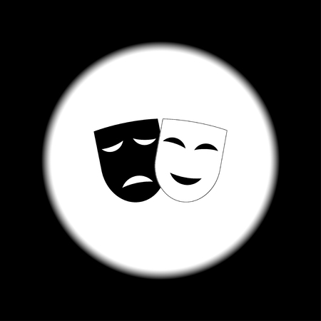 black men: Theater icon with happy and sad masks. VECTOR illustration.
