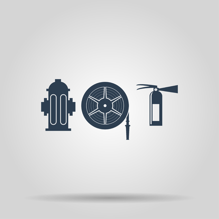 hydrant plug: Fire hydrant and fire extinguisher vector illustration