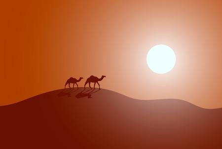사막에서 캐 러 밴의 벡터 일러스트 레이 션. 현대적인 디자인