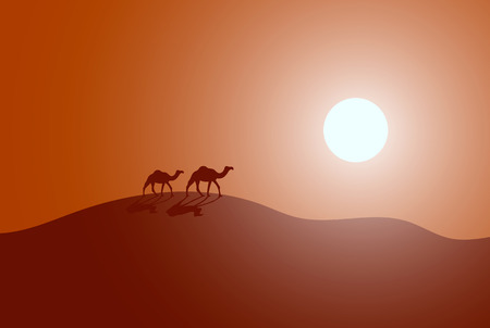 Vector illustration of caravan in a desert. Modern design