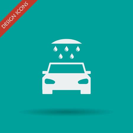 car wash: car wash, web icon. Flat vector design Illustration