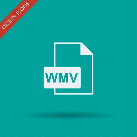 wmv: wmv file icon. Flat design style eps 10