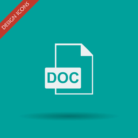 doc: File document icon. Download doc button. Vector