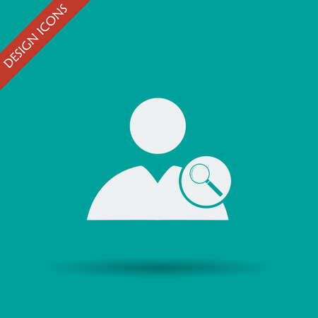 circumference: magnifier - User icon. Flat design style eps 10