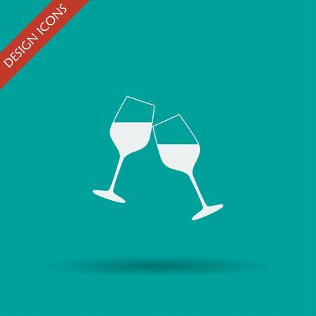 winetasting: Wine glass icon. Flat design style eps 10