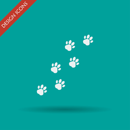prints mark: footprints of dogs, turn  right -vector illustration
