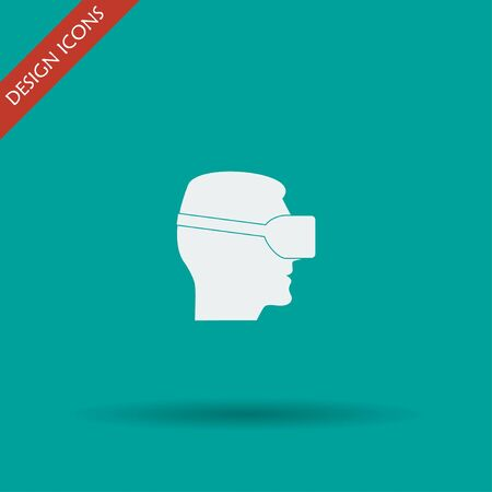 reality: Virtual reality headset icon, flat design, vector