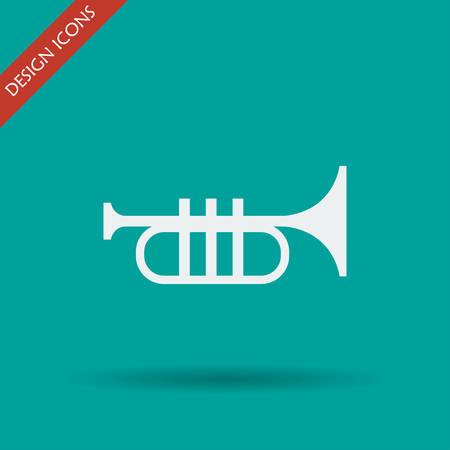 bugle: Trumpet icon. Flat design style eps 10 Illustration