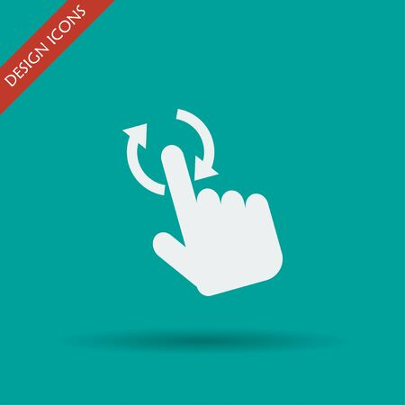 fingerprinting: Sign emblem vector illustration. Hand with touching a button or pointing finger