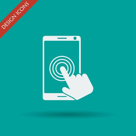widescreen: Touch screen smartphone icon. Flat design style Illustration