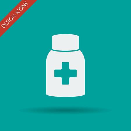 a substance vial: medicine bottle icon. Flat design style EPS