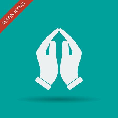 Betende Hände-Symbol, Vektor-Illustration. Flache Design-Stil