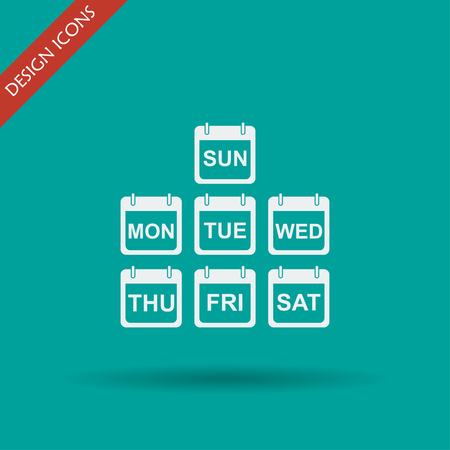 calender icon: Illustration of Realistic Vector Calendar Icon made in Trendy Flat Style. Set of Every Day of a Week Calendar Icons. Illustration