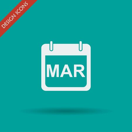 frontal: Simple Calendar.  Modern design flat style icon.