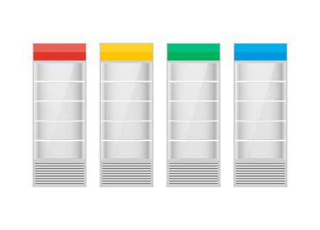 cooler boxes: Fridges with glazed door on white background
