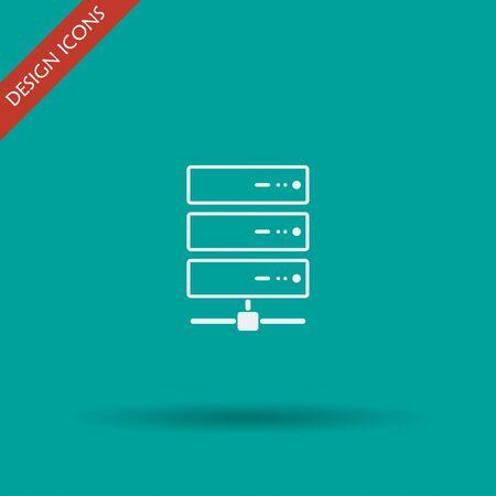 gigabyte: Computer Server icon, flat design. Vector EPS 10