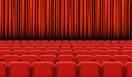 Theater auditorium with rows of red seats and stage with curtain - vector illustration Vettoriali