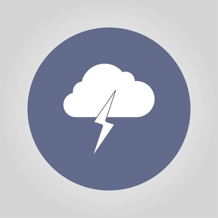broshure: Lightning bolt weather flat line icon infographic illustration template for web or brochure. Vector illustration.