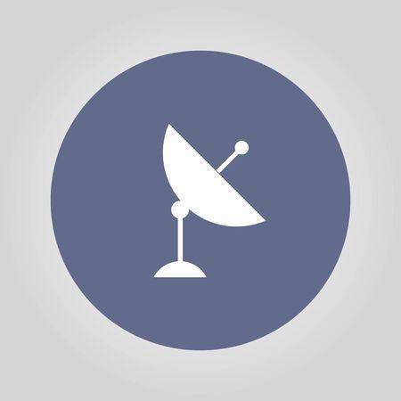 world receiver: Vector satellite dish icon. Flat design style