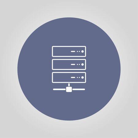 webhosting: Computer Server icon, flat design. Vector Illustration